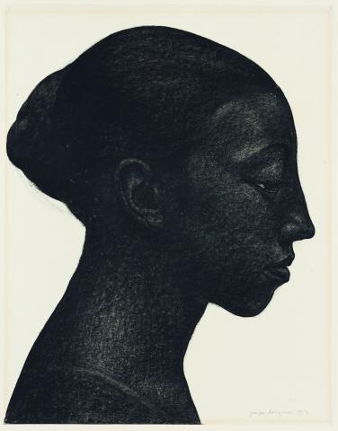 """Georges Dorignac, """"Étude de tête ou de profil"""" ou """"(Un) profil"""", 1913, fusain sur papier, collection particulière"""