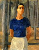 """Image de """"La femme dans les pins (autoportrait)"""", par Odette Boyer-Chantoiseau, vers 1945. Huile sur toile, 73 x 91 cm. Collection particulière"""