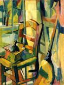 Photographie de l'oeuvre d'O. Boyer Chantoiseau, Le Moulin à café, 1949. Huile sur toile. Collection particulière